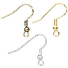 18mm Coil And Ball Spring Fish Hook Earring Earwire